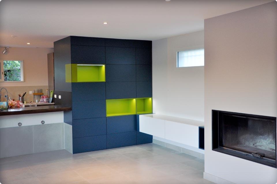 Agencement d 39 un espace cuisne et salon reynier agenceur for Agencement sejour cuisine
