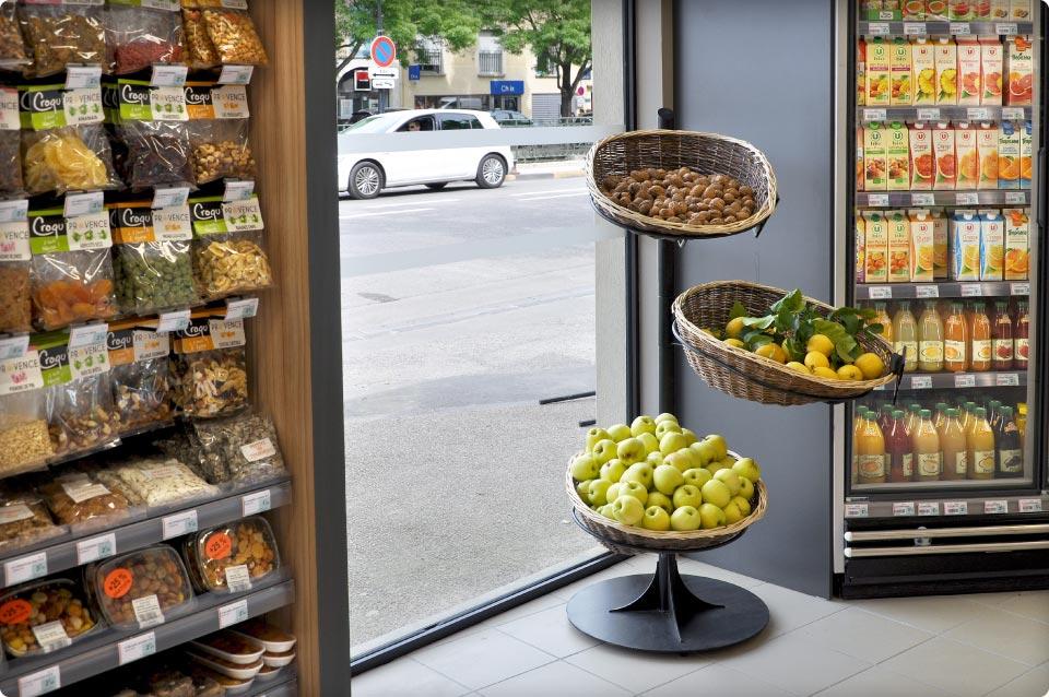 Magasin utile iss cave et fl d 39 exception reynier agenceur - Presentoir fruits et legumes ...